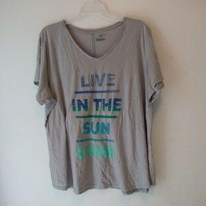"""Tek Gear shirt top saying""""live in the sunshine"""" 3X"""